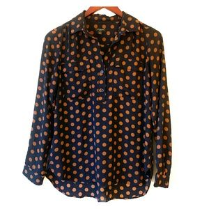 ANN TAYLOR blouse long sleeve polka dot